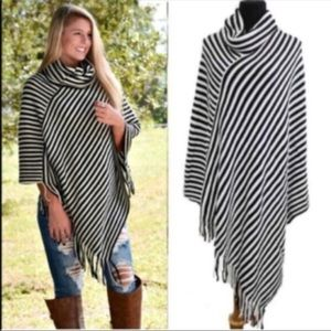Sweaters - New Arrival! Black & Ivory Striped Poncho